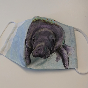 Mund - und Nasen - Maske mit Seekuh, 2 lagig aus dünner Baumwolle  , KEIN Virenschutz , handmade by la piccola Antonella