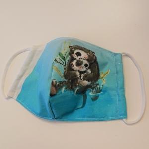 Mund - und Nasen - Maske mit Biber, 2 lagig aus dünner Baumwolle  , KEIN Virenschutz , handmade by la piccola Antonella - Handarbeit kaufen