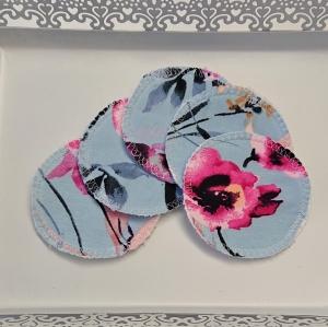 Kosmetikpads , Abschminkpads aus Baumwolle in blau mit Blumen Motiv, waschbar - wiederverwendbar , Set mit  5 Stück in 8 cm, handmade by la piccola Antonella - Handarbeit kaufen