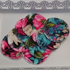 Kosmetikpads , Abschminkpads aus Baumwolle in bunt mit Blumen Motiv, waschbar - wiederverwendbar , Set mit  8 Stück in 8 cm, handmade by la piccola Antonella - Handarbeit kaufen