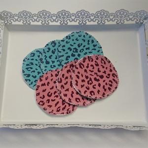 Kosmetikpads mit Leo Print, Abschminkpads aus Baumwolle ,waschbar - wiederverwendbar , Set mit  6 Stück in 8 cm, handmade by la piccola Antonella - Handarbeit kaufen