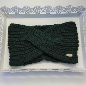Gestricktes Stirnband in dunkel grün aus 100%  Alpaka , gekreuzter  Twist ,  handgestrickt von la piccola Antonella - Handarbeit kaufen