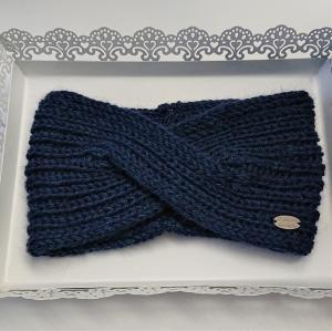 Gestricktes Stirnband in blau aus 100%  Alpaka , gekreuzter  Twist ,  handgestrickt von la piccola Antonella - Handarbeit kaufen