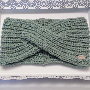 Gestricktes Stirnband aus 100% Wolle (Merino ) in mint, gekreuzter  Twist,  handgestrickt von la piccola Antonella - Handarbeit kaufen