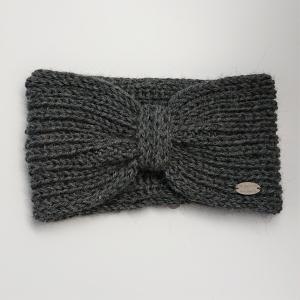 Gestricktes Stirnband in dunkelgrau aus  100% Alpaka , Ohrenwärmer, geraffter Twist ,  handgestrickt von la piccola Antonella