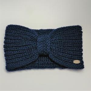 Gestricktes Stirnband in blau aus  100% Alpaka , Ohrenwärmer, geraffter Twist ,  handgestrickt von la piccola Antonella - Handarbeit kaufen
