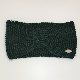 Stirnband gestrickt aus 100% Alpaka mit gerafften Twist in dunkelgrün, Ohrenwärmer, handgestrickt von la piccola Antonella - Handarbeit kaufen