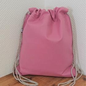 Turnbeutel, Festivaltasche, Rucksack in uni rosa mit gestreiften Innenfutter, Handmade by la piccola Antonella - Handarbeit kaufen