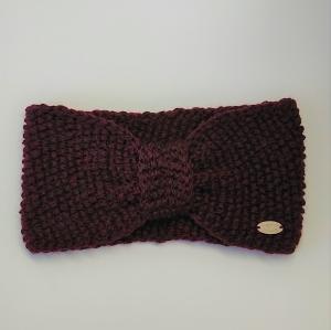 Gestricktes Stirnband  in weinrot aus  100% Wolle (Merino) , geraffter Twist ,  handgestrickt von la piccola Antonella - Handarbeit kaufen