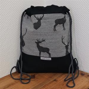 Turnbeutel, Festivaltasche, Rucksack in grau schwarz mit Hirschen, Landhaus, Tracht, Handmade by la piccola Antonella - Handarbeit kaufen