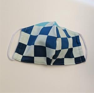Mund - und Nasen - Maske mit großen Karos in blau, 2 lagig , KEIN Virenschutz , handmade by la piccola Antonella   - Handarbeit kaufen