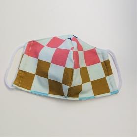 Mund - und Nasen - Maske mit großen Karos in gold rosa, 2 lagig , KEIN Virenschutz , handmade by la piccola Antonella - Handarbeit kaufen