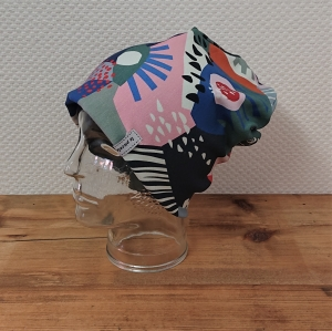 Mütze Beanie für Hipster mit buntem Muster aus Baumwolljersey  , 2 lagig , Handmade by la piccola Antonella   - Handarbeit kaufen