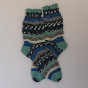 Gestrickte Socken in blau grau mint, Gr. 40/41, Wollsocken, Kuschelsocken, handgestrickt, la piccola Antonella