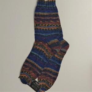 Gestrickte Socken in blau gelb braun für den Mann, Gr. 44/45 , Wollsocken, Kuschelsocken, handgestrickt, la piccola Antonella