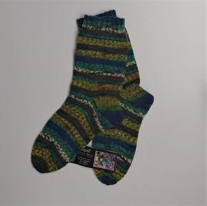 Gestrickte Socken in blau grün gelb, Gr. 40/41, Wollsocken, Kuschelsocken, handgestrickt, la piccola Antonella - Handarbeit kaufen