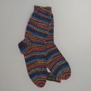 Gestrickte Socken für den Mann in blau braun türkis orange, Gr. 42/43, Wollsocken, Kuschelsocken, handgestrickt, la piccola Antonella