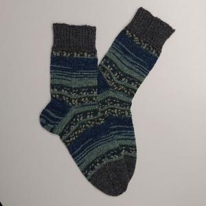 Gestrickte Socken für den Mann in blau grau, Gr. 44/45 aus 6 fädiger Sockenwolle, Wollsocken, Kuschelsocken, handgestrickt von la piccola Antonella