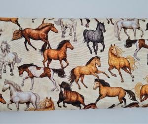 Baumwollstoff Meterware Kim, Webware mit Pferden, Stoffe kaufen bei la piccola Antonella - Handarbeit kaufen