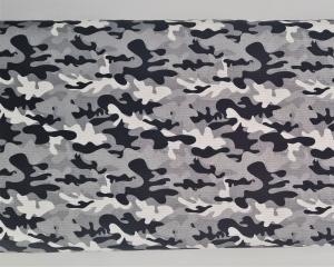 Baumwollstoff Camouflage schwarz grau weiß, Meterware Kim, Webware, Stoffe kaufen bei la piccola Antonella - Handarbeit kaufen