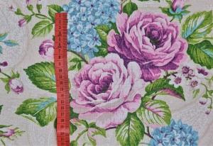 Stoff, Meterware Alexis mit großen Blumen, Dekostoff, Webware, Stoffe kaufen bei la piccola Antonella   - Handarbeit kaufen