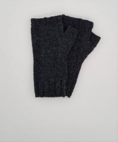 Gestrickte Arm Stulpen mit Daumen in dunkelgrau, Fingerlose Handschuhe, Pulswärmer, Gr. M, handgestrickt von la piccola Antonella  - Handarbeit kaufen