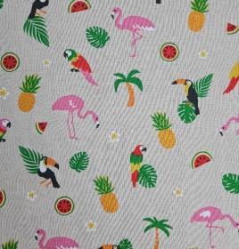 Dekostoff Baumwollmix Ananas Tukan Flamingo, Meterware Emil, Webware, Stoffe kaufen bei la piccola Antonella   - Handarbeit kaufen