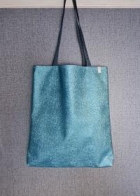 Einfacher Shopper in türkis , Einkaufstasche, Beutel aus Kunstleder, Handmade by la piccola Antonella  - Handarbeit kaufen