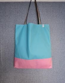 Einfacher Shopper in türkis rosa , Einkaufstasche, Beutel, Handmade by la piccola Antonella   - Handarbeit kaufen