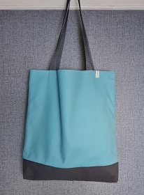 Einfacher Shopper in türkis grau, Einkaufstasche, Beutel, Handmade by la piccola Antonella   - Handarbeit kaufen