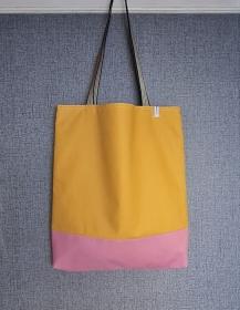 Einfacher Shopper in gelb rosa, Einkaufstasche, Beutel, Handmade by la piccola Antonella   - Handarbeit kaufen