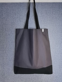 Einfacher Shopper in grau schwarz, Einkaufstasche, Beutel, Handmade by la piccola Antonella    - Handarbeit kaufen