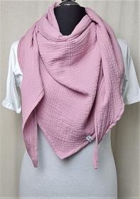 Dreieckstuch aus Musselinstoff, Musselintuch in rosa, leichter Schal, handmade von la piccola Antonella - Handarbeit kaufen