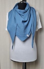Dreieckstuch aus Musselinstoff, Musselintuch in jeansblau, leichter Schal, handmade von la piccola Antonella   - Handarbeit kaufen