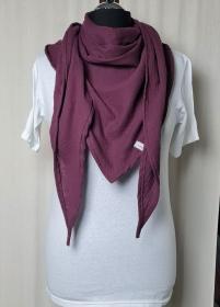 Dreieckstuch aus Musselinstoff, Musselintuch in burgundy, leichter Schal, handmade von la piccola Antonella   - Handarbeit kaufen