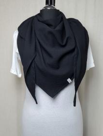Dreieckstuch aus Musselinstoff, Musselintuch in schwarz, leichter Schal, handmade von la piccola Antonella   - Handarbeit kaufen
