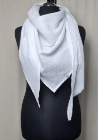 Dreieckstuch aus Musselinstoff, Musselintuch in weiß, leichter Schal, handmade von la piccola Antonella   - Handarbeit kaufen