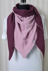Dreieckstuch aus Musselinstoff in rosa und burgundy, Musselintuch, leichter Schal, handmade von la piccola Antonella  - Handarbeit kaufen