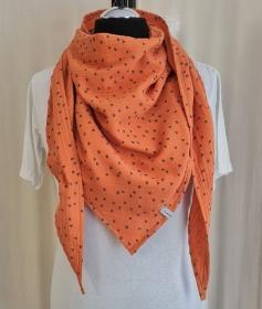 Dreieckstuch aus Musselinstoff in mandarine mit Herzchen, Musselintuch, leichter Schal, handmade von la piccola Antonella - Handarbeit kaufen
