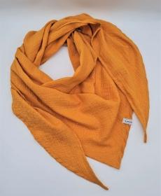 Dreieckstuch aus Musselinstoff in goldenyellow mit silbernen Punkten, Musselintuch, leichter Schal, handmade von la piccola Antonella - Handarbeit kaufen