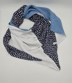 Dreieckstuch aus Musselinstoff in marine weiß jeansblau, Musselintuch, leichter Schal, handmade von la piccola Antonella - Handarbeit kaufen