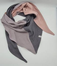 Dreieckstuch aus Musselinstoff in grau beige, Musselintuch, leichter Schal, handmade von la piccola Antonella  - Handarbeit kaufen