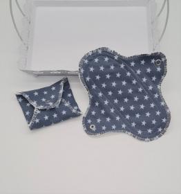 Waschbare Slipeinlagen / Binden aus Baumwolle mit Sternen, 2 Stück, Zero Waste, handmade by la piccola Antonella   - Handarbeit kaufen