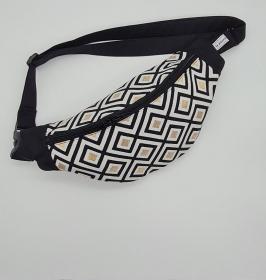 Bauchtasche in schwarz weiß gold mit Rauten, tragbar auch als Crossbag, Umhängetasche, handmade by la piccola Antonella - Handarbeit kaufen