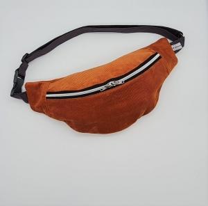 Bauchtasche aus Cord in rost, tragbar auch als Crossbag, Umhängetasche, handmade by la piccola Antonella - Handarbeit kaufen