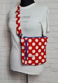 Bauchtasche Dots in rot, tragbar auch als Crossbag, Umhängetasche, handmade by la piccola Antonella - Handarbeit kaufen