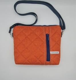 Umhängetasche kleiner Shopper aus Steppstoff in terracotta orange, handmade by la piccola Antonella