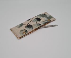 Stricknadelgarage , Stricknadeltasche Eukalyptus, Aufbewahrung für Nadelspiel 20 cm, handmade la piccola Antonella - Handarbeit kaufen