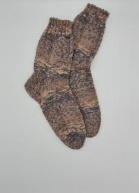 Gestrickte Socken in braun beige, Gr. 40/41, Wollsocken, Kuschelsocken, handgestrickt, la piccola Antonella    - Handarbeit kaufen