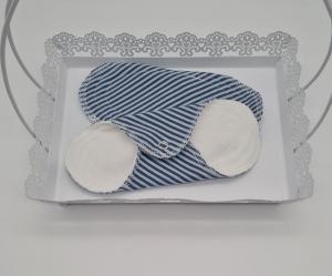 Waschbare Slipeinlagen / Binden aus Baumwolle blau gestreift, 2 Stück, Zero Waste, handmade by la piccola Antonella   - Handarbeit kaufen